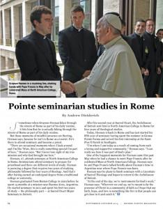 Grosse Pointe Seminarian Studies in Rome (Grosse Pointe Magazine - Sept. - Oct. 2015)